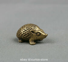 "1.3"" Collection Curio Chinese Bronze Lovable Animal Rrinaceus Earopaeus Statue刺猬"