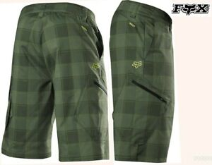 FOX ranger mountain bike cargo short green plaid print baggie cycling mens 38 XL