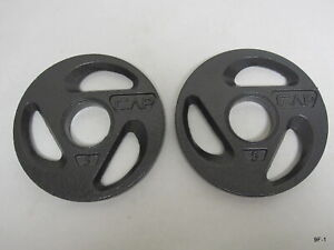 "CAP 2"" Olympic Hole Iron GRIP Weight Plates 5lbs Set of Two (2)"