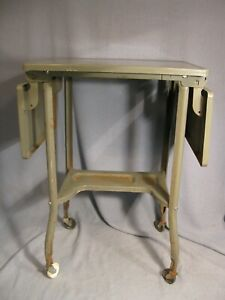 Vintage Typewriter Stand Table Desk Toledo Guild Grey Industrial