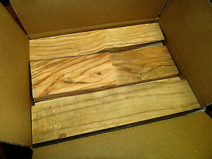 BOX OF VARIOUS SIZES OF OLIVE SCRAP LUMBER WOOD BLANKS