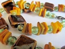 Stone Shell & Glass Bead Necklace  Brown Yellow & Green With Glitter  20.5""