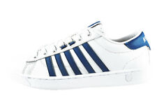 Mens K-Swiss Hoke Trainers Iconic Stripe Footwear Leather Low Top Lace up Shoes White - Brunner Blue Size - UK 8 - EU 42 - US 9