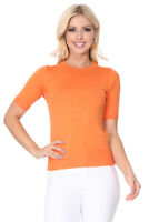 YEMAK Women's 1/2 Sleeve Crewneck Basic Casual Knit Pullover Sweater MK3664(S-L)
