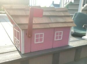 """Amish Crafted """"Pink with White Trim"""" Barn Style Mailbox - Lancaster Cnty PA"""