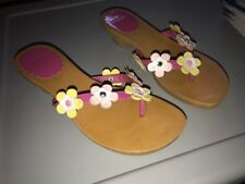 Gymboree girls pink floral flower kitten heal sandals shoes size 2