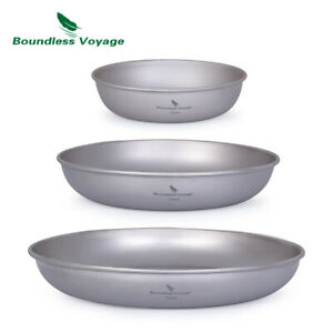 Ultralight Titanium Pan Dish Plate with Carry Mesh Bag Outdoor Camping Tableware
