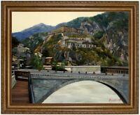 Ölbild Bergdorf Dolomiten Südtirol Gemälde HANDGEMALT F:50x60cm