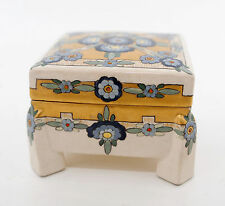1900-40 Square Floral Porcelain Box, Coover Outline Design, Hand Painted Blank