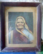 1957's Vintage Rare Portrait  Gujarati Woman Lady Artist Hand Big Oil Painting