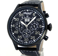 INGERSOLL GERMAN DESIGN AUTOMATIC BLACK ION COATED STEEL 45mm LEATHER IN1824BBK