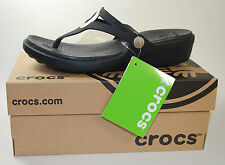 Crocs Sanrah Wedge Flip Flop (Women's) all Black Size W6
