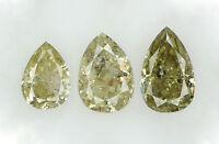 Natural Loose Diamond Pear Yellow Color I1-I3 Clarity 3 Pcs 0.54 Ct N5411