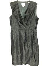 Donna Morgan Womens 6P Dress Ruffle Drap Crossover V Neck Linen Blend 6 Petite