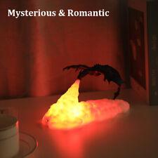 3D Fire-Breathing Dragon Night Light LED Table Desk Lamp Room Decor Rechargeable