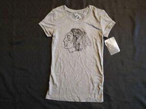 NWT Girls Chicago Blackhawks T-Shirt NHL Gray Black Logo Small 7/8 Authentic