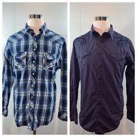 ROCK & ROLL COWBOY Men's Lot of 2 Western Shirts Long Sleeve Pearl Snap Sz XL