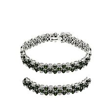 Genuine Green Chrome Diopside  925 Sterling Silver Deco Tennis Bracelet