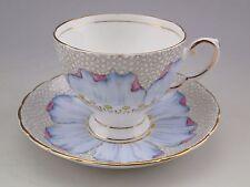 Vintage TUSCAN Fine Bone China Cup & Saucer Set Blue & Pink