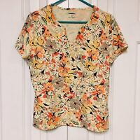 Croft & Barrow Knit Top V-Neck Yellow Orange Autumn Floral Short Sleeve PL Large