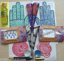 Henna Kit - temporary tattoo Henna cones Bindi Glitter Stencil Oil FREE SHIPPING