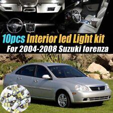 10Pc Super White Car Interior LED Light Bulb Kit for 2004-2008 Suzuki Forenza