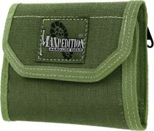 Maxpedition CMC Wallet OD Green Divided Bill Fold Cards Coins Velcro Closure