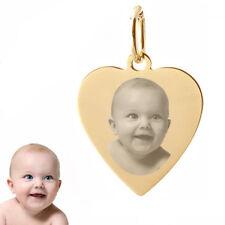 Gravur Platte Herz mit  pers. Fotogravur- Echt Gold-333(8 Karat)-&Silberkette