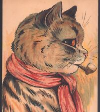 "Rare Wain.!.Pipe Smoking Cat Says ""Don'T Tax My Baccy"" Pictorial,Old Postcard"