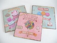 Shabby 3 Holzbilder Wandbilder Candy Shop Lollipop Cupcake 25 cm Holz Retro NEU