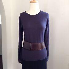 PHILIPPE ADEC Paris Basic Long Sleeve Extra Fine Wool Top L M Purplish Gray