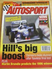 AUTOSPORT MAGAZINE FEB 1996 SCHUMACHER STRUGGLES HILLS BIG BOOST MARTIN BRUNDLE