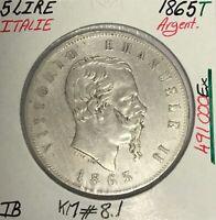 ITALIE - 5 LIRE 1865 T - Pièce de Monnaie en Argent // TB