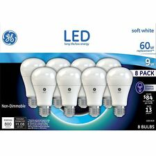 GE LED Soft White Bulb A19 60W A19 White 8 Pack - GE LED Light Bulb - LED BULBS