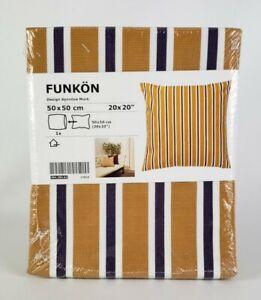 """Ikea FUNKON Pillow Cushion Cover 20"""" x 20"""" Orange Blue White Stripes New"""