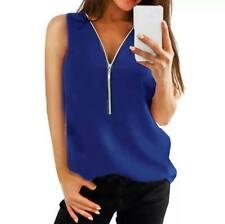 Blusa camisa mujer Cremallera en Escote Azul Eléctrico azul Klein elegante floja
