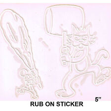 RUB ON STICKER - The Simpsons Itchy & Scratchy White Decal  SB44
