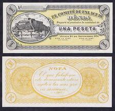 SPANISH CIVIL WAR ONE 1 PESETA DENIA 1936 UNC REMAINDER with MARINA & FORTRESS