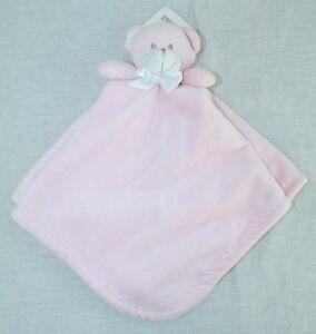 Blankets & Beyond Pink and White NuNu Bear Lovey Security Blanket