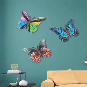 Metal Butterfly Wall Decoration Hanging Sculpture Garden Decoration Mini AnimHF