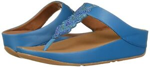 NEW Fitflop Cora Crystal TOE Thongs Sandal FLIP FLOPS Turquoise SIZE 10 NIB wow