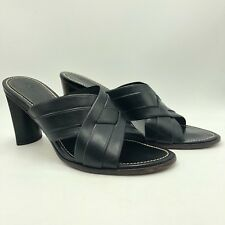 Cole Haan Country Black Leather Mule Sandals Open Toe Made In Brazil Size 7 $225