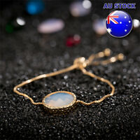 18K Gold Filled GF Oval Round White Opal Charm Chain Adjustable Bracelet