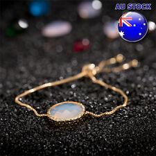18K Gold Filled GF Oval Round White Opal Charm Chain Adjustable Bracelet