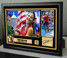 More details for emma raducanu us open champion tennis framed canvas signed print