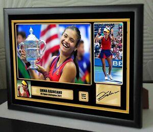 "Emma Raducanu US Open champion Tennis Framed Canvas Signed Print ""Great Gift"""