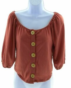 Urban Girl Juniors Dark Coral Off The Shoulder Top 3/4 Sleeve Casual Cropped