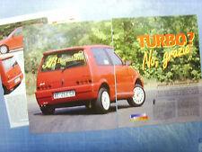 AUTO997-RITAGLIO/CLIPPING/NEWS-1997-FIAT CINQUECENTO SPORTING BONALUME- 3 fogli