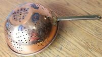 """Vintage Copper Colander Strainer 9"""" Brass Handle for hanging Made in Korea"""