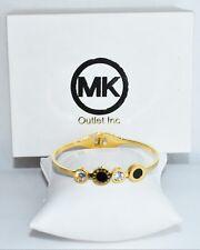 "Mother Of Pearl Zero Bracelet Bangel Mk Women's 7"" Stainless Steel, Gold Black"